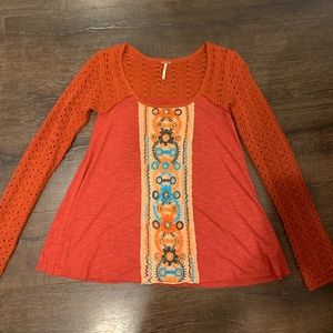 Free People Burnt Orange Embroidered Tunic Sweater